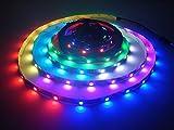 WS2812B Led Streifen Licht, Traumfarbe 16.4FT / 5m WS2812B 30leds / M 5050 SMD Individuell Adressierbar LED Band Licht, 150 Pixel Volle Farbe RGB Streifen Licht DC 5V Nicht Wasserdicht (Schwarz PCB)