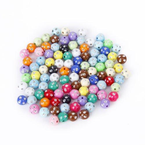 100 Stück Farbenfrohe Acryl Perlen mit Strass Funkelnden Punkte 10mm -