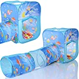Pop Up Spielzelt Ocean Cube Kinder Baby Spielhaus mit Tunnel und 100 Bällebad Bällen