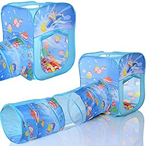 pop up spielzelt ocean cube kinder baby spielhaus mit tunnel und 100 b llebad b llen. Black Bedroom Furniture Sets. Home Design Ideas