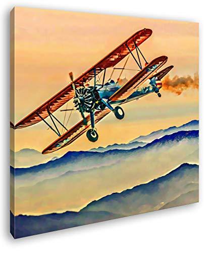 Propellerflugzeug über den Bergen Format: 60x60 Effekt: Zeichnung als Leinwandbild, Motiv fertig gerahmt auf Echtholzrahmen, Hochwertiger Digitaldruck mit Rahmen, Kein Poster oder Plakat