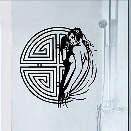 shensc Klassische Frau wasserdichte Vinyl Wandtattoos Traditionellen Chinesischen Stil Wandbild Wandaufkleber Pub Badezimmer Dekoration 60x55 cm -