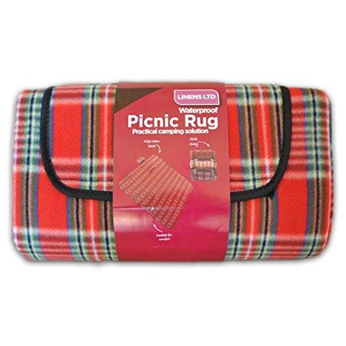 Linens Limited - Couverture de pique-nique - polaire/résiste à l'eau - carreaux - rouge - 105 x 135 cm