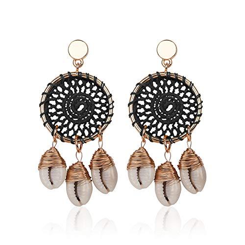 Kuizhiren1 Jewelry Gift Stud Earrings for Girls/Women, Boho Handmade Big Circle Dream Catcher Shell Conch Long Dangle Stud Earrings  - Black