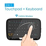 2.4 GHz mini clavier sans fil de souris avec le touchpad entier de panneau, portable portatif rechargeable clavier pour Android / Google / Smart TV, Linux, Mac, Windows PC, HTPC, IPTV, Raspberry Pi, XBOX 360, PS3, PS4