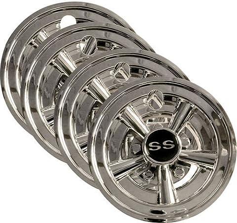 4x 8 Chrome Golf Cart Wheel Covers for EZGO, Club Car, + Yamaha Carts by GPD