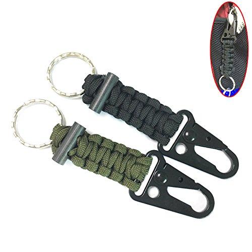 FRISTONE Survival Paracord Schlüsselanhänger - Überleben Feuerstein Feuer Starter mit Karabiner Lanyard,Schwarz Grün (2 Stücke)