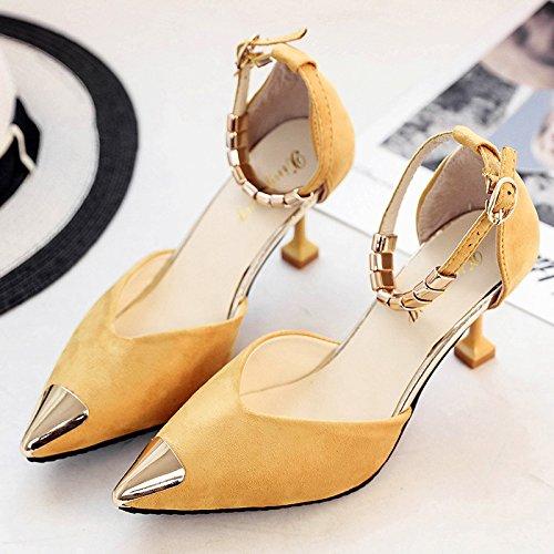 XY&GKSandales femmes Chaussures Femmes été High-Heeled, avec boucle chaussures fines,le meilleur service 35yellow