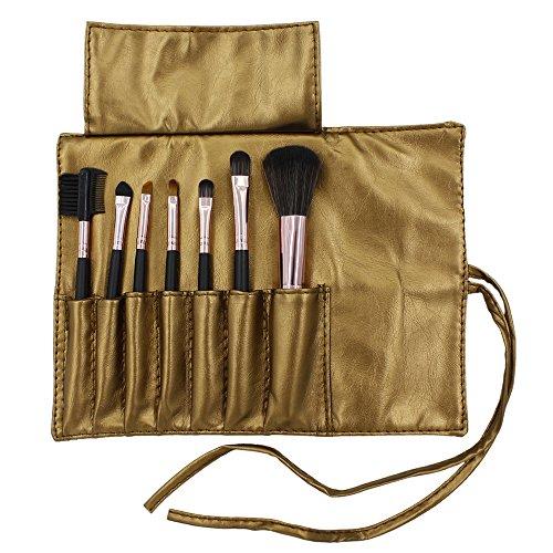 7 pièces pinceaux de maquillage Set Poudre sourcils cils Pinceau à lèvres avec un sac