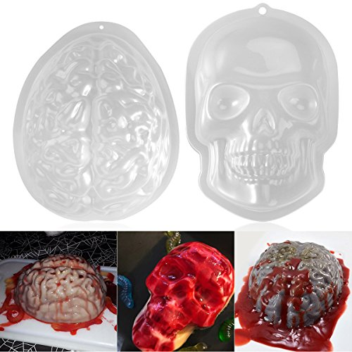 PBPBOX Halloween Puddingform Gehirn Zombie Brain Party Deko - 2 Pack (Einfache Halloween Deko Ideen)