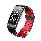 Montre intelligente tracker de fitness - Étanche jusqu'à 30mètres de profondeur - Natation et plongée - Bracelet de surveillance de la fréquence cardiaque, Rouge/noir