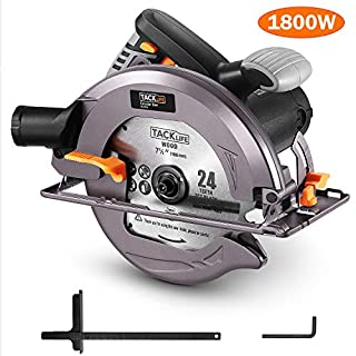 TACKLIFE 1800W 4700RPM Circular Saw, Compact Saw with Aluminum Guard, 24T 190MM Circular Saw Blade, Tilted Dust Blower, Max Cutting Depth 67mm (90°), 47mm (45°), 3Meter Power Cord - ECS01A