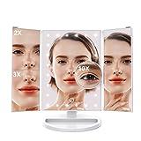 LANGRIA Specchio per Trucco Illuminato con LED Ingrandimento di 10x, Base Dimmerabile per Mobile, Ruotabile a 180°