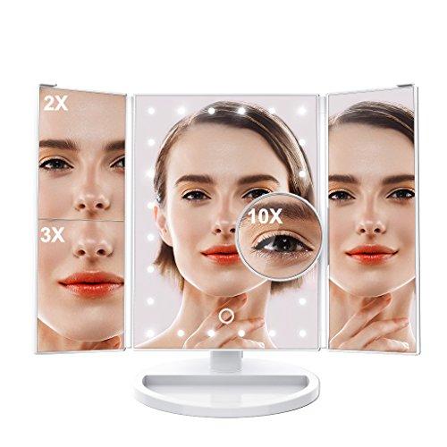 LANGRIA Espejo de Maquillaje con Luz LED Blanca y con Espejo Redondo de Aumento x10 con Ventosa – Giratorio Funciona con Pilas y Cable USB para Sobremesa Tocador Baño (24 Luces LED, Blanco)