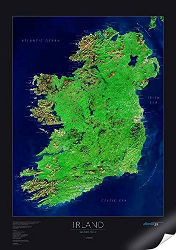 Satellitenbildkarte Irland, Planokarte