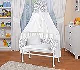 WALDIN Baby Beistellbett mit Matratze und Nestchen, höhen-verstellbar, 16 Modelle wählbar, Buche Massiv-Holz weiß lackiert,Große Liegefläche 90x55cm,grau/Muster weiß