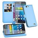 Cadorabo DE-103176 Huawei Ascend G7 Handyhülle mit Kartenfach und Standfunktion Blau