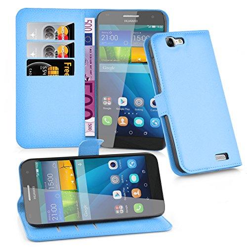 Cadorabo Hülle für Huawei G7 Hülle in Pastel blau Handyhülle mit Kartenfach und Standfunktion Case Cover Schutzhülle Etui Tasche Book Klapp Style Pastell-Blau