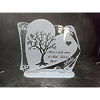 plaque funéraire personnalisée parchemin cœur arbre de vie texte au choix