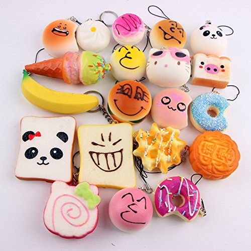 ation Multi süße weiche Krapfen Panda Brot Kuchen Telefon Charm Strap Dekor Pendent Hanging Geschenk Zubehör ()