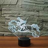 Cooles Reiten Pferd 3D Nachtlicht Instrumente Lampe 7 Farben LED USB 3D Illusion Lampe Für Wohnkultur Für Kinder Spielzeug Geschenk
