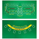 Brybelly Double-Sided Craps Table & Blackjack Casino Felt | Convenient, Space-Saving 36 x 18 Roll-up Casino Gambling Tabletop Mat | Smooth 2mm Mini-Felt for Coffee Table Craps & Blackjack