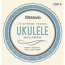 D'Addario EJ88T-8 Nyltech Ukulele, 8-String Tenor