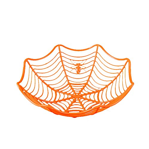 Spider Web Fruchtplatte Halloween Dekoration Creative Candy Kekse-Früchte Candy Basket Bowl für Halloween Party Decor (Orange)