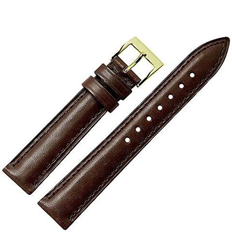 Uhrenarmband 20 mm Leder braun - Ersatzarmband mit Naht aus Rindsleder (echtes Vachettaleder) - spitzes, schlankes Ersatzband für Uhren - Marburger Uhrenarmbänder seit 1945 - dunkelbraun / gold