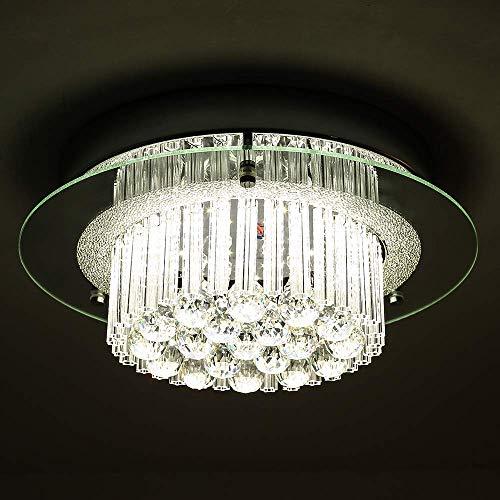 L.HPT Pendant Light for Living Room,Modern LED Deckenleuchte Kronleuchter 2-stufig Kristalltröpfchen Jewel Brushed Chrome & Glass Unterputz Deckenleuchte für Flur/Treppe/Schlafzimmer/Esszimmer