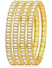 Sukkhi Astonishing Solitaire Gold Plated American Diamond Bangle For Women