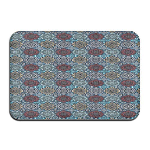 ITSHHMB Water Absorbent Bath Mat Non-Slip Rubber Back Microfiber, Patchwork Style Vintage Ottoman Inspiration Retro Ethnic Henna Motifs,for Living Room Rugs Bedroom