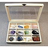 Caja de Madera con 12 separadores para Piedras Minerales y Cristales, Belleza energética, Meditacion, Amuletos Espirituales