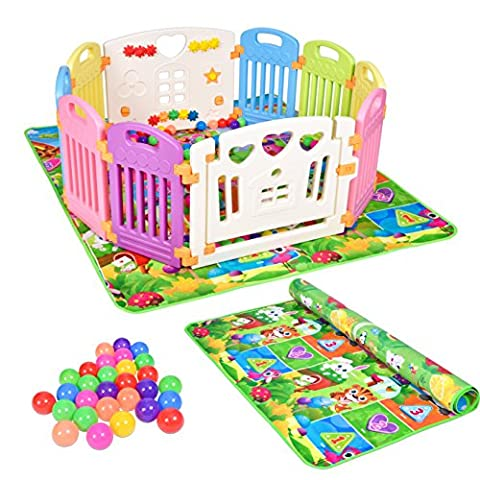 Baby Toddler Non-Toxic Plastic Playpen Safe&Care 10 Sides Including Activity Game Panel and Door Panel + 100 Multi Coloured Play Ocean Balls + Baby Double-Sided Play Floor Crawl Mat 180 x