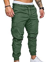 Hellomiko Pantaloni sportivi da uomo Pantaloni da lavoro cargo Pantaloni sportivi da esterno Grigio XL