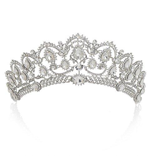 SWEETV Magnifique Noble Mariage Couronne Mariee Diadème Accessoire avec Cristal pour Soirée Fête Transparent