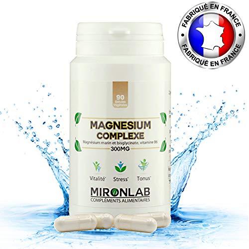 Magnésium Complexe MironLab | Magnésium marin, Bisglycinate de Magnésium et vitamine B6 | Fortement concentrée 300 mg de Magnésium élément | Fabriqué en France | 90 gélules.