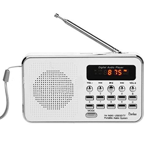Mini FM Radio Portatile dell'altoparlante di mezzi di musica MP3 Player Digital Audio Supporto USB di deviazione standard TF MMC AUX (bianco)