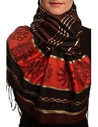 Chocolate Brown Stripes & Gold Lurex Pashmina Feel With Tassels - Brown Pashmina Striped Scarf