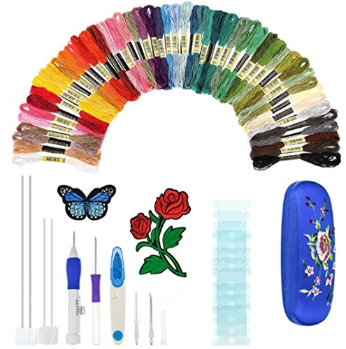 Magie Stickerei Stift, Stickerei Pen Punch Nadel Gestickte Muster Punch Nadel Set Einschließlich 50 Farbe Threads für Einfädler DIY Nähen (Quilt-magic-kits)
