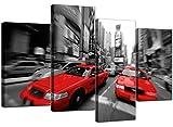 Groß Schwarz Weiß Rot Taxi New York Leinwand 130cm breit Bilder XL 4025