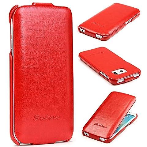 URCOVER® Fashion Flip Case | Étui Protection Samsung Galaxy S6 Edge | Simili-cuir in Rouge | Coque Housse Sac À rabat Femme Ultra-mince Semi-Rigide Wallet