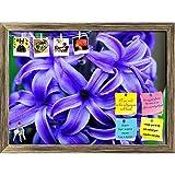 ArtzFolio Amethyst Flower Printed Bulletin Board Notice Pin Board cum Antique Golden Framed Painting 16.3 x 12inch
