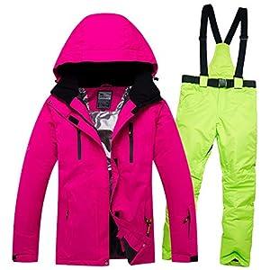 Zjsjacket Skianzug Damen Skianzug Wasserdichte, Winddichte weibliche Schneejacke und Hose-Sets Baumwolle gefütterte Winter-Walk-Snowboardkleidung