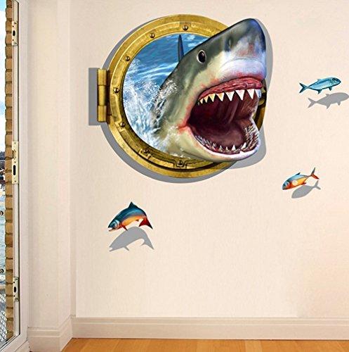 Decorator World Wall Map (3D Tier selbstklebend abnehmbarer Break durch die Wand Vinyl Wandtattoo/Mural Art Decals Decorator für Küche Schlafzimmer Shark Mouth(60*90cm))