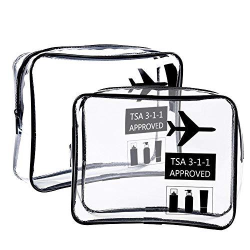 Trousse de toilette transparente approuvée par la TSA, leegoal pochette de toilette transparente pour sac de toilette, taille 4 avec bagage à main pour aéroport de voyage avec fermeture à glissière