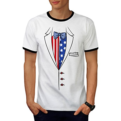 USA Flagge Anzug Mode Herren S Ringer T-shirt | Wellcoda