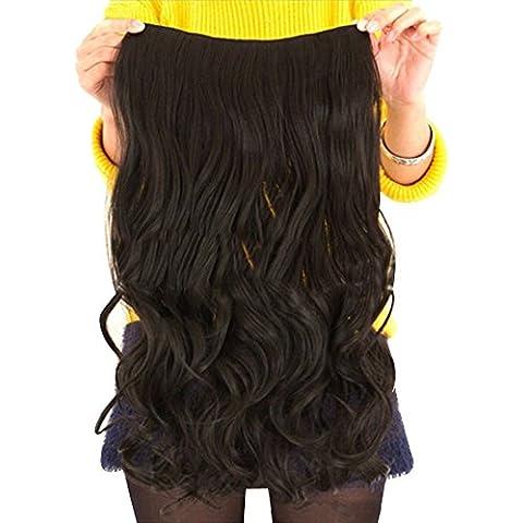 Contever® Onduladas Extensiones de Clip de Pelo Natural Pelucas Cabello del Salón de Belleza del Cabello para Mujer de La Moda de 55 cm (L) x 25 cm (W) -