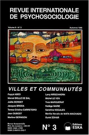 Revue internationale de psychologie, numéro 3. Villes et communautés