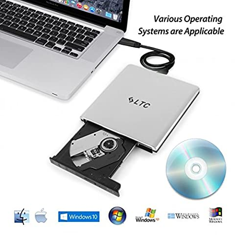 LeaningTech Upgrade-Version Tragbare Ultra Dünn Extern CD DVD Blu-Ray Brenner Laufwerk, Disc Leser, Schreiber, Burner für Mac, Windows, Vista, USB 3.0, Aluminum Legierung Gehäuse (Silber)